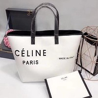 CÉLINE Fashion Women Shopping Bag Leather Satchel Handbag Shoulder Bag Two Piece Set White/Black I-WXZ2H