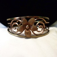 Krementz Vintage 1940s Flower Bracelet Openwork Cuff Rose & Yellow Gold Plated Signed