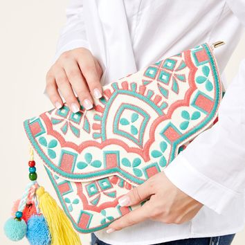 Somewhere Tropical White Embroidered Clutch