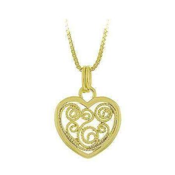 18K Gold over Sterling Silver Filigree Heart Pendant