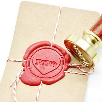 XOXO Heart Gold Plated Wax Seal Stamp x 1