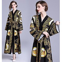 Versace Autumn Trending Women Stylish Temperament Print Long Sleeve V Collar Shirt Lapel Dress Black