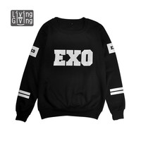 NEW kpop style EXO sehun baekhyun luhan kris black cotton Sweatshirt Suit long sleeve hoody Outerwears hoodies