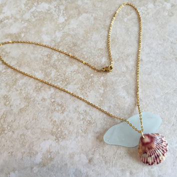 Micro Seashell Necklace // Natural Scallop Shell // Pink and White Speckled Scallop Shell
