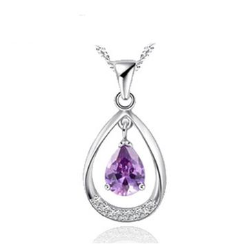 CZ or Amethyst Double Teardrop 925 Sterling Silver Necklace