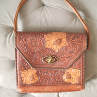 Western Rose | Vintage 1960s Tooled Leather Shoulder Purse Satchel Brown Leather with Flowers and Whip Stitching