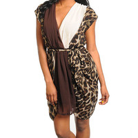 Womens Leopard Animal Print Flowy Draped Chiffon Clothing Apparel Fashion Dress