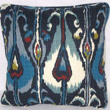 "Blue Ikat Pillow Robert Allen Ikat Bands Indigo Navy Cotton Welted 17"" Square Ready Ship Cover and Insert"