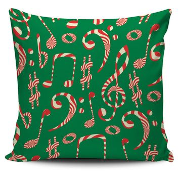 Christmas Notes and Clefs Pillow Cover