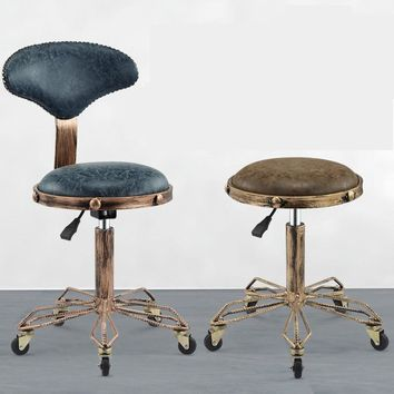 H   Height Adjustable Nail Embroidery Chairs with High Elastic Sponge Retro Bronze Barber Chair Rotate Lift Beauty Stools