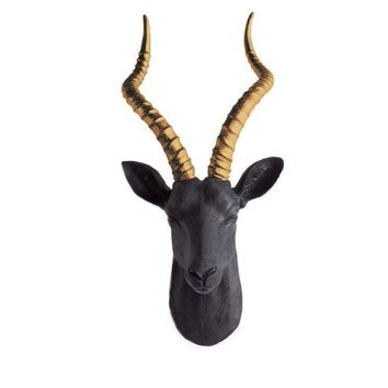 The Maasai | Large Antelope Gazelle Head | Faux Taxidermy | Black + Bronze Horns Resin