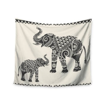 "Famenxt ""Ornate Indian Elephant-Boho"" Black Beige Wall Tapestry"