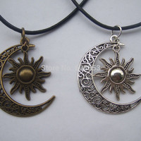 "Fashion Crescent Moon And Sun Charm Pendant Black Leather Boho Colar Hippie Necklace 18"" - 26"""
