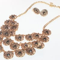 Vintage Womens Rhinestone Jewelry / Gold Colored Bib Necklace / Necklace Earrings Set / Demi Parure