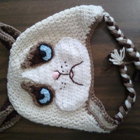Mean, sour, grumpy cat hat with earflaps