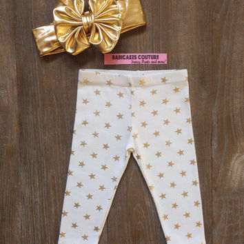 Gold Star Glitter Legging & Gold Bow Headband Gold Sparkle Leggings, Gold Glitter Pants, Gold Baby Leggings, Star Leggings, Gold Baby Pants,
