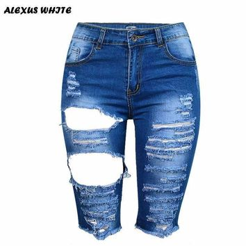 Streetwear Ripped Jeans Mid Pants Female Summer Women's Hole Fringed Stretch Denim Capris Trend High Waist Fifth Trousers