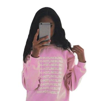 Autumn Fashion Women Pink Fleeced Thick Warm Hoodies Pullovers 800 Hotline Bling Winter Sweatshirts New