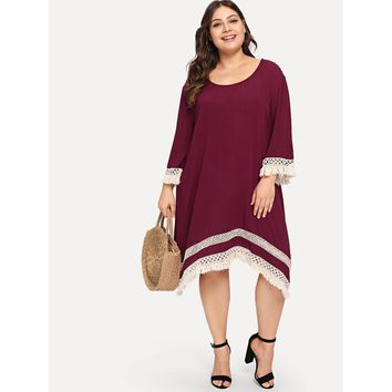 Plus Lace Applique Tassel Hem Dress Maroon