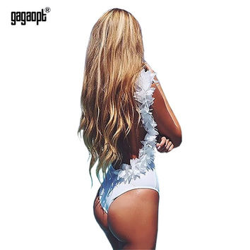 Gagaopt 2017 Sexy Backless Bodysuit Cotton Romper Floral Bodysuit Women Jumpsuit Summer Overalls Combinaison femme Playsuit