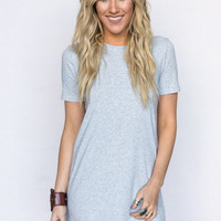 the Finch Tunic Tee In Heather Gray