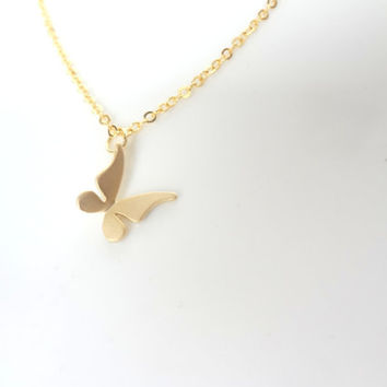 Gold Butterfly Necklace. Butterfly pendant. Simple Necklace. Cute Butterfly.