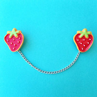 "Handmade ""Strawbery Surprise"" Large Red Strawberry Sweater Clips - Collar Pins - Collar Clips - Femme Fruit Collection"