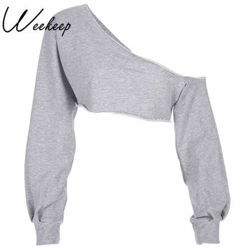Weekeep Women Fashion One Shoulder Long Sleeve Hoodie Sexy Cropped Adventure Time Sweatshirt 2018 Streetwear Women Hoodies