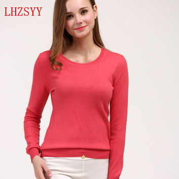 NEW Spring and Autumn women's round neck Cashmere Blending Slim bottoming Sweaters solid color Knit Pullover Wool Female