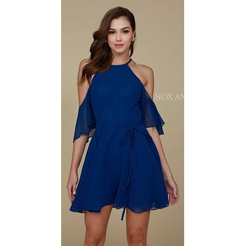 Cold Shoulder Mid Length Sleeve Short Party Dress Navy Blue