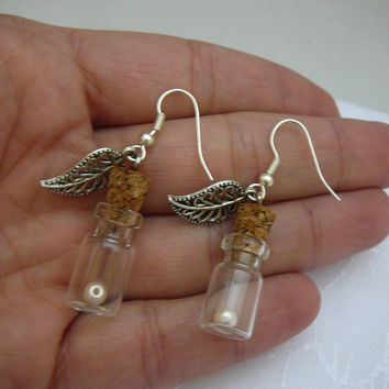Silver Leaf Earrings Tiny Earrings Glass Bottles by CaptureMyArt