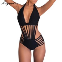 One Piece Swimsuit Push Up Women Bandage Swimwear Sexy Halter Top Bathing Suit Solid Swimming Suits