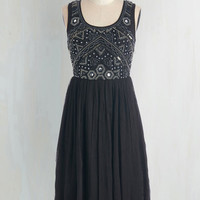 Vintage Inspired Long Tank top (2 thick straps) A-line Embellishment to Be Dress in Black