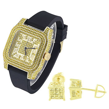 Men's Iced Out Square Face Canary Yellow Finish Watch with Matching Earrings Combo Set