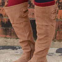 Riding High Suede Boots: Cognac