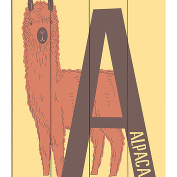 Click Wall Art Zoo Animal A is for Alpaca Wall Art