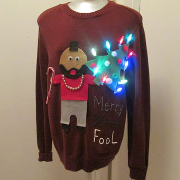 Funny Ugly Christmas Sweater.Hilarious Ugly Christmas Sweater Lights Up Funny Mr T Saying Merry Christmas Fool Size Large To Xlarge 40 Inch Chest Ships In 24 Hours Ooak