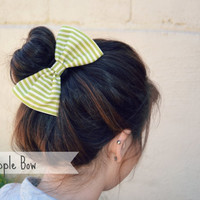 Green and White Striped Hair Bow