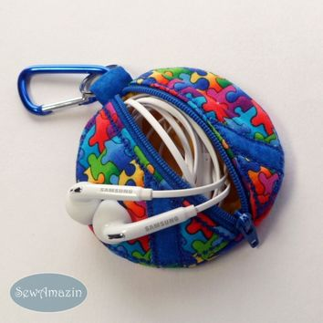 Puzzle Pieces Peace Sign Coin Purse, Earbud Pouch