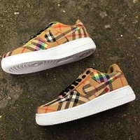 Nike & Burberry AIR FORCE 1 Low AF1 Vintage Check Cotton Canvas Sport Shoes  B-MDTY-SHINING Brown
