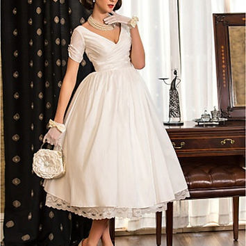 A-line Princess V-neck Tea-length Taffeta Wedding Dress (783941) #00783941