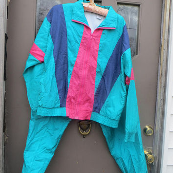 Windbreaker nylon Suit Two Piece womens Track Suit, teal colorblock  Windbreaker Jacket ,90s Grunge,  sz large