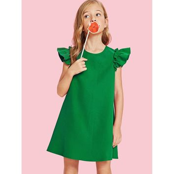 Girls Ruffle Armhole Tunic Dress