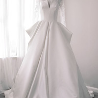 Dreamy Open Queen Style Romantic Custom made Long Sleeved French Lace Wedding Dress - YS 1981200789