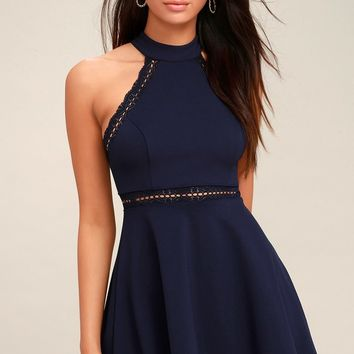 Reach Out My Hand Navy Blue Lace Skater Dress
