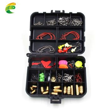 128 Pcs Set 20 Types Lure Fishing Accessories Tackle Box with Fishing Hooks Connector Spring Ring Line Holder Lure Keeper Beads