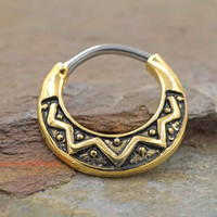 Gold Tribal Daith Piercing Rook Earring Clicker Gold