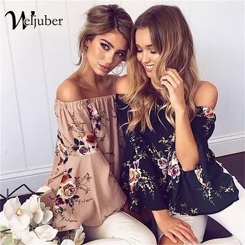 Weljuber Women Off Shoulder Bohemia Blouse 2018 Summer Beach Blouse Sexy Women Boho Tops and Blouse Ladies Shirt Hot Sell
