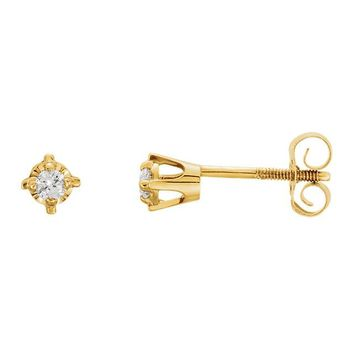 14K Yellow Gold .06 CTW Genuine Diamond 2mm Round Youth Earrings