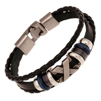 Genuine Leather Woven Charm Bracelet Vintage Buckle Leather Bracelets Bangle